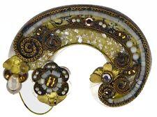 Vintage Signed Ayala Bar Israel Silver Tone Brass Mosaic Costume Brooch Pin