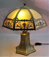 Gorgeous & Large AMERICAN ART NOUVEAU Slag Glass Lamp  c. 1910  antique leaded