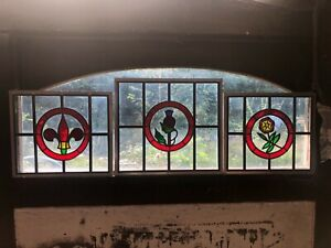 RECLAIMED DOUBLE GLAZED LEADED STAINED GLASS PANELS