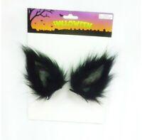 Clip On Halloween Black Wolf Ears Costume Cute Fancy Dress Horror Cat Scary UK