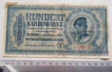 Russia USSR Ukraine 100 Karbowanez 1942  Paper Money Banknote