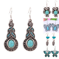 7 styles ladies Tibetan Silver Turquoise Crystal Earrings Dangle Retro Jewelry