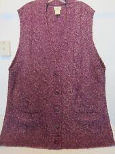 Women's LL BEAN Raspberry Tweed WOOL Blend Cable Knit Button Front Vest Sz 3X
