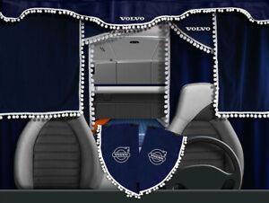 Volvo VNL VNM Curtains Full Set Blue with white pom poms 7 pieces