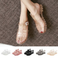 Girl Retro Buckle Flat Heel Casual Summer Beach Sandals Jelly Shoes Size