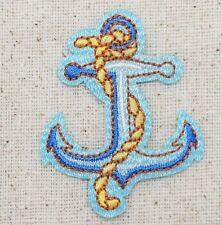 Iron-On Applique Embroidered Patch Two-tone Blue Anchor Yellow Rope