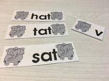 """Elephant - Add a sound """"at"""" Words Building Game - Laminated Activity Cards"""