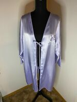 Vintage Eve Stillman  Wet Look Polyester Satin Tie Front Robe  - Blue Size Large