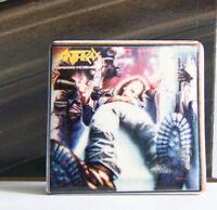 Rare Vintage Pin Metal Pinback 1980s 80s  Metal Anthrax Spreading The Disease