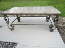 Brass Coffee Table with Fosil Stone Top