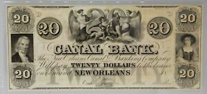 PMG MS 65 EPQ New Orleans Canal & Banking Co. $20 Note 1840s