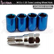 4x Toyota GT86 Subaru BRZ Tuner Locking Wheel Nuts Blue M12x1.25 Slim Drive