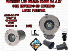 3 FARETTI INCASSO LED 1W ESTERNO/INTERNO SEGNA PASSO CALPESTABILE IP68 GIARDINO
