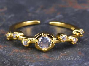 Silberring Stern Schmal Golden Zirkonia Ring Silber 925 Verstellbar Offen