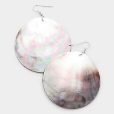 "Abalone Shell Earring Large Circle Round Sea Beach Natural SILVER 3"" Drop Dangle"