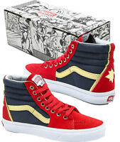 Authentic Vans x Marvel Sk8-Hi Captain Marvel Red, Blue & White High Top Shoes