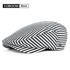 Men's Black Stripe Flat Cap Ivy Hat Newsboy Gatsby Cap Cabbie Beret Driver S/M