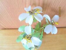 VINTAGE ASIAN CHINESE WHITE GLASS DOGWOOD FLOWERS & LEAVES PLANT CELADON POT