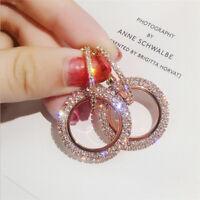 Luxury Rose Gold Plated Round Drop Earring Womens Zircon Geometric Hoop Earrings