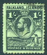 FALKLAND ISLANDS-1929 Whale & Penguins 1/- Black/Emerald Sg 122 FINE USED