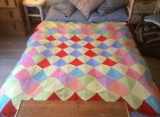 VINTAGE BEDSPREAD THROW DOUBLE HAND KNITTED COTTON