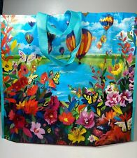 Marshalls  Reusable Large Shopping Tote Beach Bag ~Hot Air Balloons Floral ~ NEW