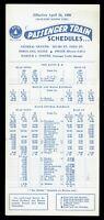 ⫸599 Maine Central Railroad Passenger Train Schedules Card April 24, 1960