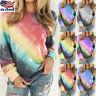 Womens Long Sleeve Rainbow Shirt Tops Blouse Casual Baggy Sweatshirt Jumper USA