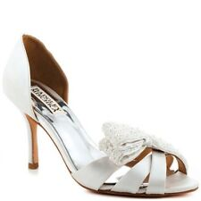 NIB Badgley Mischka VITA D'orsay wedding heels sandals open toe shoes WHITE  7,5