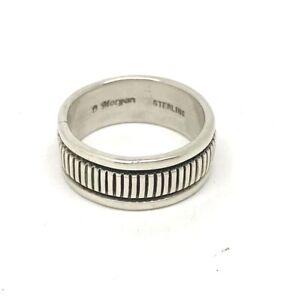 Signed Bruce Morgan Navajo Sterling Silver Ring Band 6.5