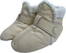 carozoo booties cream 2-3y soft sole leather baby shoes