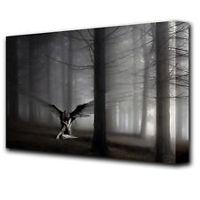 LARGE 16x12 inch FANTASY FALLEN ANGEL IN THE FOREST Canvas Wall Art Picture