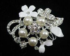 White Flower Crystal Rhinestone Brooch Pin Bridal Wedding Bouquet Cake Decor