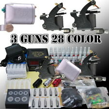 Tattoo Kit 3xTattoo Machine(rotary,coil) +28 Color Inks