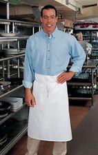 6 Fame Fabrics B3 White Bartender Aprons No Pocket Chef Commercial Quality