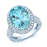 18K White Gold Aquamarine Diamond Oval Halo Ring Cocktail 15x11 MM Natural 7