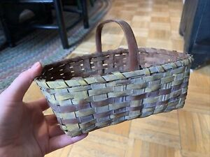 19th Century Sm Sz Handled Woven Splint Basket Mustard with Red Paint Decoration