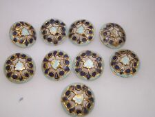 9 BEAUTIFUL ANTIQUE GILT CLOISONNE ENAMEL FILIGREE BUTTONS W/METAL SHANK!