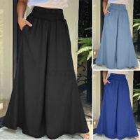 Womens Elastic Waist Pants Long Casual Loose Vintage Ladies Trousers Plus Size