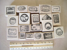 23 different  passport cancellations  wood mounted rubber stamps all pass ports