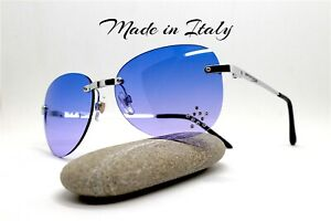 Made IN Italy Sunglasses Woman Oval Without Frames Blue Violet Yellow Hippies