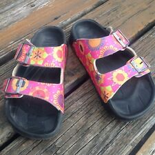 Birkenstock Birkis Pink Arizona Sandals Girls R EU35 L EU36 Shoes Floral Hearts