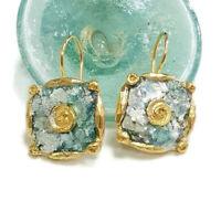 Roman Glass Earrings Fragments Ancient 200 B.C  Bluish Patina Gold Plated Isra