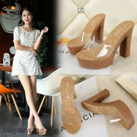 Womens Clear Fashion Slippers Shoes Open toe Platform High Block Heel Sandals SZ