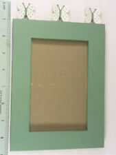 """Picture Frame With 3 Butterflies 9"""" x 6"""" (pic size 5 1/2"""" x 3 1/2"""") green & whit"""
