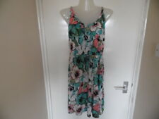 Ladies Turquoise, Pink, Black and white floral racer back top size M