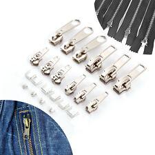 12pcs Cursor Cremallera Malla de Metal Reemplazo de Cremallera Color Plateado