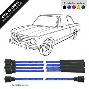 BMW 02 Series 1600 / 1602 / 1502 / 1802 / 2002tii 8mm Blue Silicone HT Lead Set