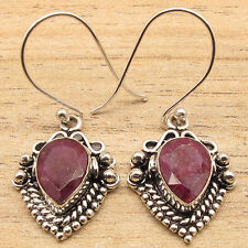 ETHNIC Simulated RUBY 925 SILVER PLATED EARRINGS JEWELLERY