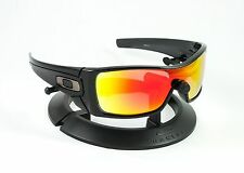 OAKLEY BATWOLF BLACK INK FRAME / REVANT FIRE RED POLARIZED CUSTOM LENSES